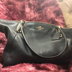 Navy Coach Pebble Leather Kelsey Satchel